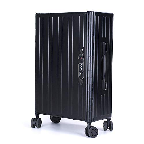 Foldable Trolley Suitcase for Travel, with Code Lock, Convenient Storage (Color : Black)