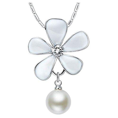 Onefeart Blanco Oro Plateado Colgante Collar Para Mujeres Chicas Blanco Perla Natural Perla Ciruela 45CMx37X24MM