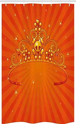 ABAKUHAUS Halloween Schmaler Duschvorhang, Ausgefallene Prinzessin Crown, Badezimmer Deko Set aus Stoff mit Haken, 120 x 180 cm, Orange