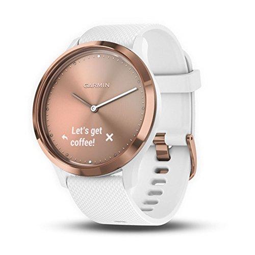 Garmin vívomove HR - Montre Connectée Hybride Élégante avec Écran Tactile – Rose/Dorée, Bracelet Blanc