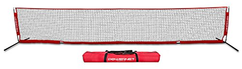 PowerNet Soccer Tennis Net | Portable Instant | Indoor Outdoor | Metal Collapsible Base Weighted | Durable Vertical Bow Posts | Quick Setup Easy Folding Storage | 1 Net + 1 Carrying Bag