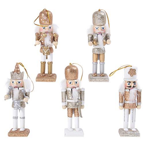 VALICLUD 5 Stücke Weihnachten Nussknacker Figuren Puppe Baumschmuck Soldaten Holz Dekofigur Weihnachtsfiguren Holzfiguren Tischdeko Geschenke Weihnachtsbaum Anhänger Ornamente Xmas Deko