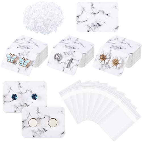 1200 Pieces Marble Earring Display Cards Set Includes 300 Pieces Earring Display Cards Paper Earrings Holders 600 Pieces Earring Backs 300 Pieces Self-Seal Bags for Jewelry, 1 x 1.4 Inch (White)