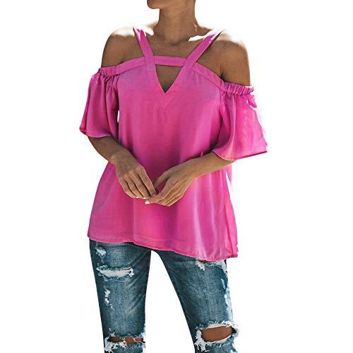 HIRIRI Womens Spaghetti Strap Cold Off Shoulder Tops T Shirt V Neck Halter Blouse Short Sleeve Summer Top Hot Pink
