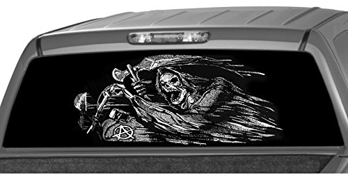 """MotorINK Grim Reaper Rider Rear Window Graphic Decal Tint Sticker Sons of Anarchy for Truck or SUV (22""""x69"""" XLarge)"""