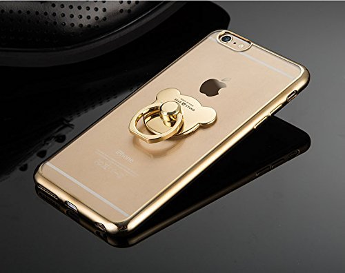 Ukayfe iPhone 7 Plus/8 Plus Or Coque en Silicone Placage Housse Etui de Protection Souple Cristal Clair Gel TPU Bumper avec Ours Ring Holder Supports d'anneaux Housse Case Cover Couverture Etui