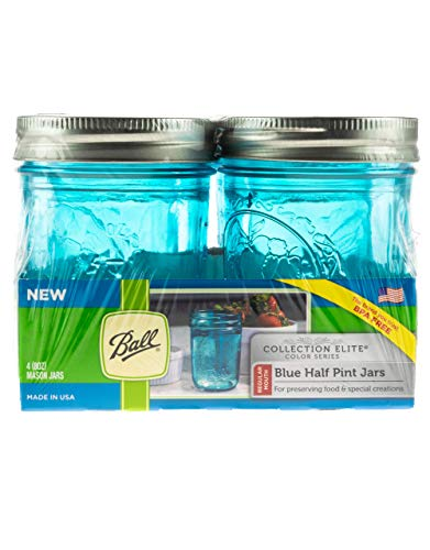 Mason Jar, Einmachglas, BLUE Elite collection | 4er-Set | 8oz (230ml) | blau | inkl. Verschluss (regular)
