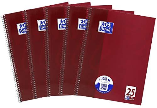 Oxford Oxford - Cuaderno (A4, a rayas, 80 hojas, 5 unidades), color morado