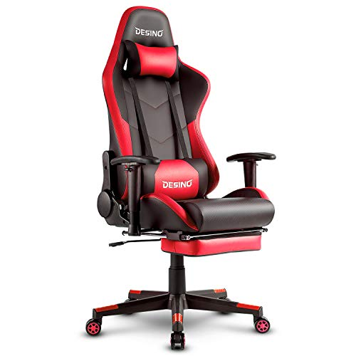 DESINO Gaming Chair Racing Style High Back Computer Chair Swivel Ergonomic Executive Office Leather Chair with Footrest and Adjustable Armrests (Red) chair gaming red