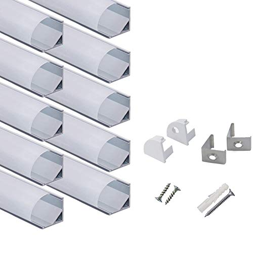 hunhun 10-Pack 3.3ft/1Meter V Shape LED Aluminum Channel System with Milky Cover, End Caps and Mounting Clips, Aluminum Profile for LED Strip Light Installations, Very Easy Installation