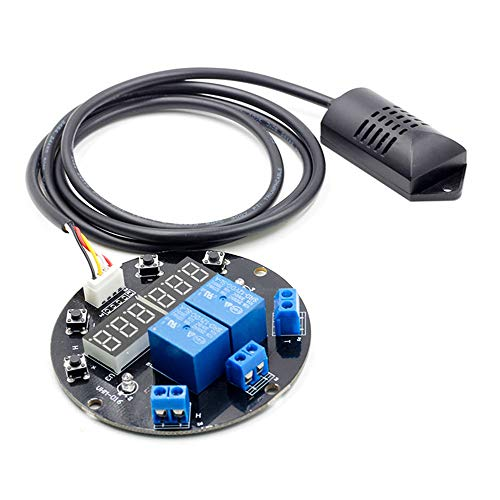 KKmoon DC 12V Umidità Regolatore di Temperatura Modulo Display Digitale Termometro Igrometro Controller Board 1M Sensore Dual Relè Uscite