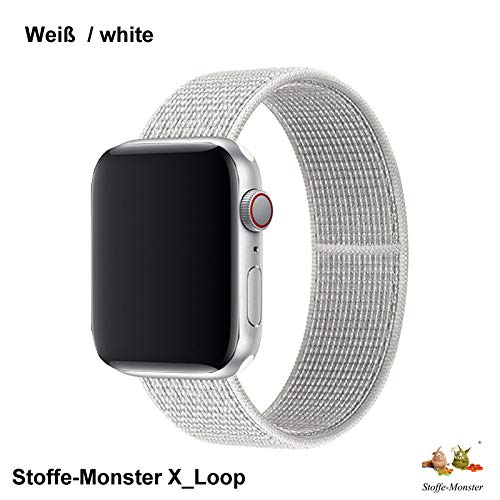 Stoffe-Monster X_Loop Watch Armband Sport Bianco weiß White 42mm / 44mm