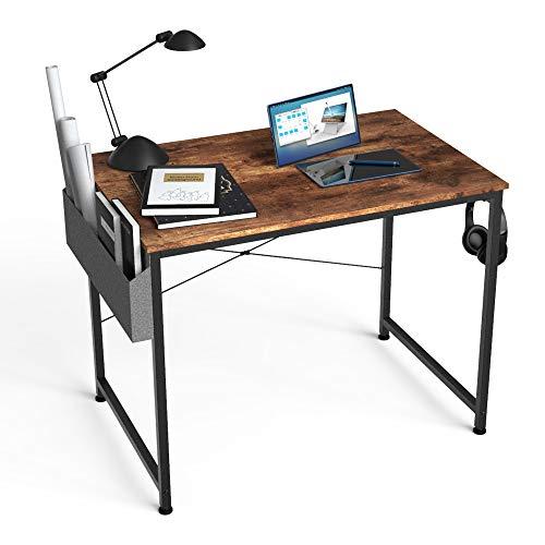 HOMIDEC Computertisch Schreibtisch, PC Tisch Bürotisch, 80 x 60 x 75 cm, Kleiner Schreibtisch mit Aufbewahrungstasche & Kopfhörer Halter, Holz Arbeitstisch für Arbeitszimmer, Zuhause, Büro, Schule