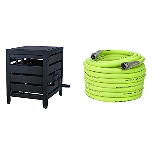 AMES 2519100 NeverLeak Cold-Weather Resistant Cabinet with Auto-Track Reel, 150-Foot Hose Capacity & Flexzilla Garden Hose, 5/8 in. x 100 ft, Heavy Duty, Lightweight, Drinking Water Safe - HFZG5100YW