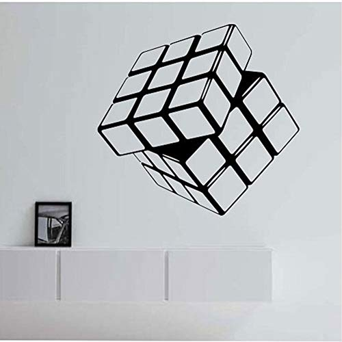 Ponana Cubo De Rubik Calcomanías De Vinilo Geométricas Pegatinas De Pared Para Habitaciones De Niños Sala De Estar Decoración Del Hogar Mural 44X47 Cm