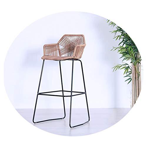 Barhocker mit Fußstütze & Rücken, Rattan Wicker Barhocker Stuhl für Kitchen Pub Café Frühstückstheke, Khaki/Schwarz, 75CM