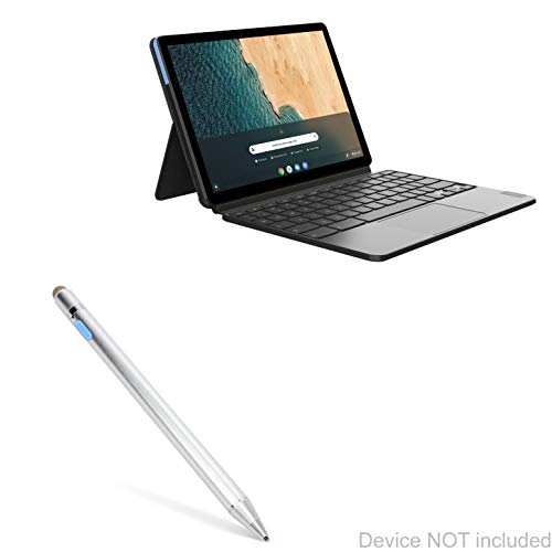 Lenovo Chromebook Duet Stylus Pen, BoxWave [AccuPoint Active Stylus] Electronic Stylus with Ultra Fine Tip for Lenovo Chromebook Duet - Metallic Silver