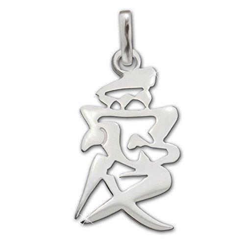 CLEVER SCHMUCK Silberner Anhänger chinesisches Schriftzeichen für Liebe 18 mm glänzend Sterling Silber 925 im Etui rot Ich Liebe Dich