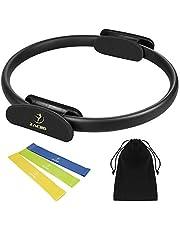 Zacro pilates ring pilates cirkel 38 cm weerstandsring loop met 3 yoga-spanbanden voor vetverbranding, Core-training
