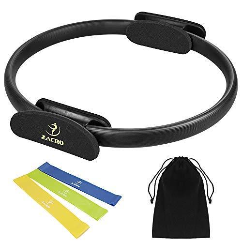 Zacro Pilates Ring Pilates Circle 38cm Widerstandsring Loop mit 3 Yoga-Spannband für Fettverbrennung,Core-Training