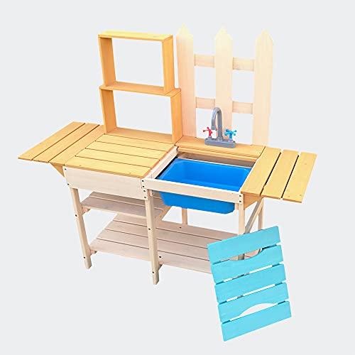 Wiltec Outdoor Kinderküche aus Holz 109,2x40,4x98,6cm mit Regal, Spielküche für Garten, Terrasse und Balkon