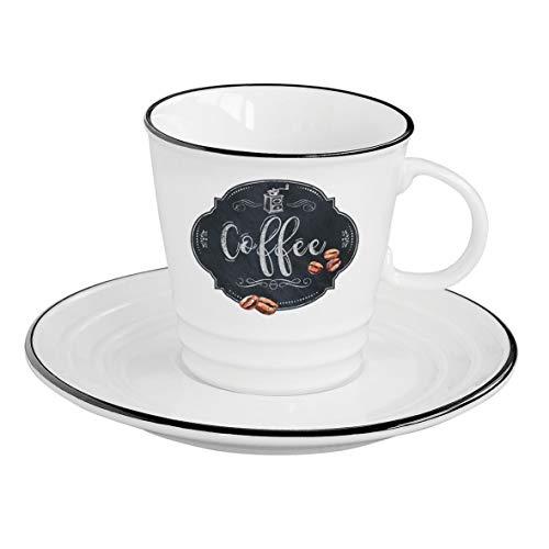 Easy Life Kitchen Basics Eine Tasse Mit Untertasse, Porzellan, Mehrfarbig, 16 x 16 x 12 cm