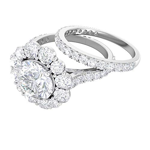 Anillo de compromiso solitario con anillo de boda (8 mm de forma redonda solitaria), oro blanco de 14 quilates blanco