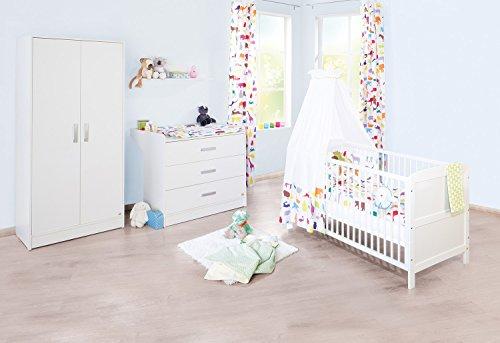 Pinolino Kinderzimmer Viktoria breit, 3-teilig, Kinderbett (140 x 70 cm), breite Wickelkommode mit Wickelansatz und Kleiderschrank, weiß (Art.-Nr. 10 00 22 B)