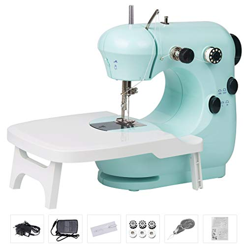 Bruvoalon Electric Sewing Machine, Portable Lightweight Household Sewing Machines for Beginner Adults, Double Thread, Night Light, Foot Pedal, Adjustable 2-Speedfor Tailors/Arts/Crafting (Blue)