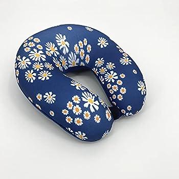 Bookishbunny U Shaped Micro Beads Microbead Neck Head Support Travel Pillow 12 x12 x4   DaisyNavy