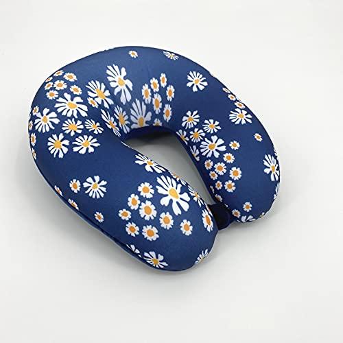 Bookishbunny U Shaped Micro Beads Microbead Neck Head Support Travel Pillow, 12'x12'x4' (DaisyNavy)
