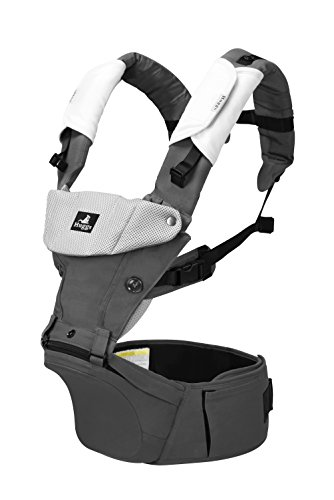 Abiie HUGGS Baby Carrier Hip Seat - Approved by U.S. Safety Standards - Healthy Sitting Position (M-Position) - Front Facing, Hip Hugger, Back Baby Carrier - 100% Cotton, 2-Year Warranty (Grey)