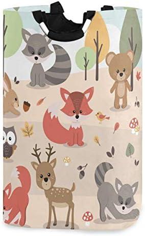 OREZI Cute Woodland Forest Animals Deer Rabbit Bear Fox Raccoon Bird Owl Laudry Hamper Waterproof product image