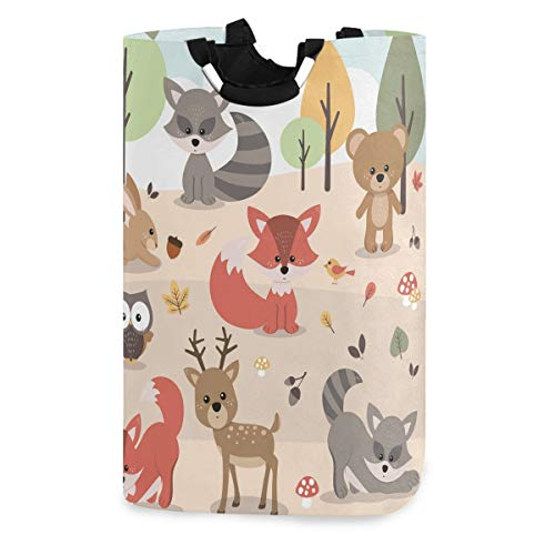 Mnsruu Cute Woodland Forest Animals Deer Rabbit Bear Fox Raccoon Bird Owl Pop-Up Laundry Hampers,Waterproof and Foldable Laundry Bag for Storage Dirty Clothes Toys¡
