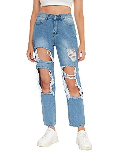 Calça jeans feminina rasgada da SweatyRocks com comprimento até o tornozelo, Solid Blue, Large