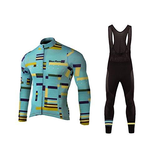 Uglyfrog Bike Wear Chaqueta de Ciclismode Manga Larga+Pantalones de Acolchado 3D para Hombres de Invierno Conjunto de Ropa de Ciclismo de Lana Térmica equipacion Ciclista