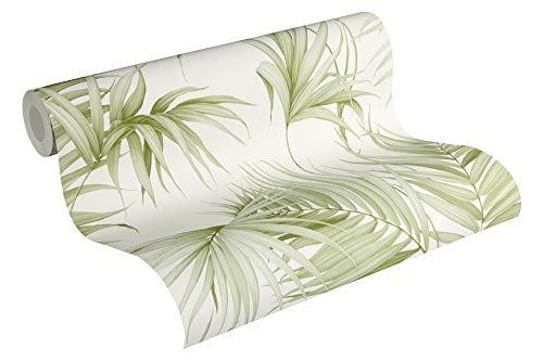 Michalsky Living Vliestapete Dream Again Tapete mit Palmenprint in Dschungel Optik 10,05 m x 0,53 m creme weiß grün Made in Germany 365051 36505-1