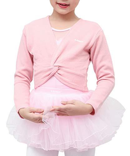 s.lemon Suéteres de Ballet de Baile Manga Larga de Cardigans para Niñas Niños (Rosado, M/Altura del Cuerpo: 105-115 cm)