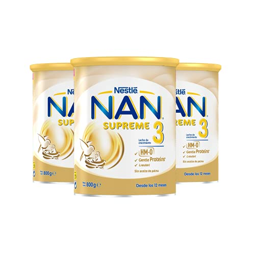 NAN - Supreme 3 Leche De Crecimiento En Polvo Premium, 3 latas x 800 g