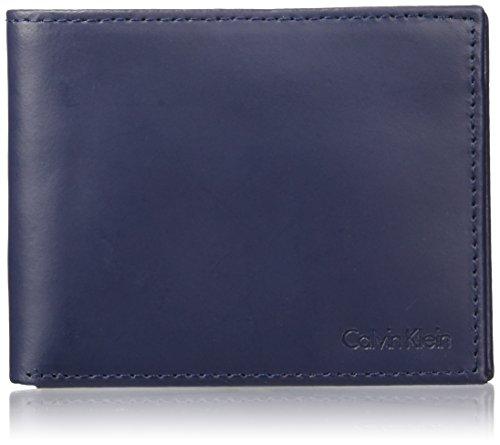 Calvin Klein Men's Blocking Leather Bifold Wallet, RFID navy, One Size