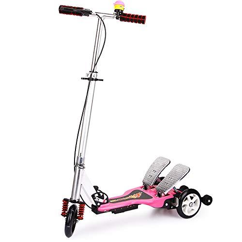 QAQQQ Altalena Scooter con Alluminio Pedale per Bambini Disegno Piegante Scooter Pink