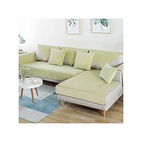 HGblossom Verhindern Sie DASS Haustiere Kinder Katzen Hunde Scratch Sofa Cover Schonbezug Pad Möbel Protector Couch Slip beflockt Lint Stoff Sofa Handtuch hellgelb 70X240Cm