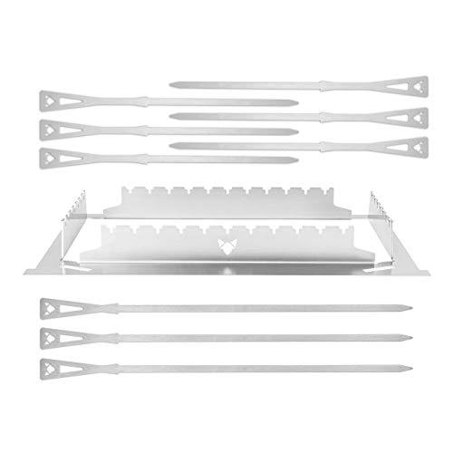 FENNEK Grillspieße und Halterung im Set | 10- teilig | Grillzubehör 2.0 aus Edelstahl | Made in Germany