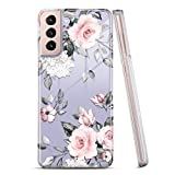 RXKEJI Galaxy S21 Plus Case Clear Cute Girls Women Floral Design Slim Flexible TPU Bumper Hard Back Cover Protective Phone Case for Samsung Galaxy S21+/S21 Plus 5G 6.7' 2021 Flower Rose Pink