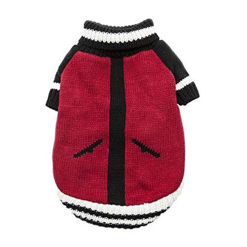 Pun Kleine middelgrote grote honden warme zachte gebreide kleding winterkleding winter huisdier katten en honden kleding coltrui hond truien, rood, Maat