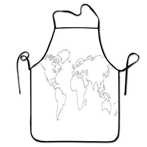 Not Applicable Karte Schürze Frauen Simplistic Design Weltkarte Umriss mit dünner schwarzer Linie Zeichnung Zusammenfassung Kontinente Schürze Grill Männer schwarz weiß