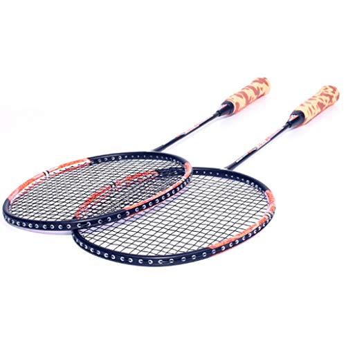 DYW 2 Stück Carbon-Faser-Badmintonschläger Composite-Anzug Trainings Durable Anfänger Sport Racket einschließlich 1 Tragetasche (Color : Orange)