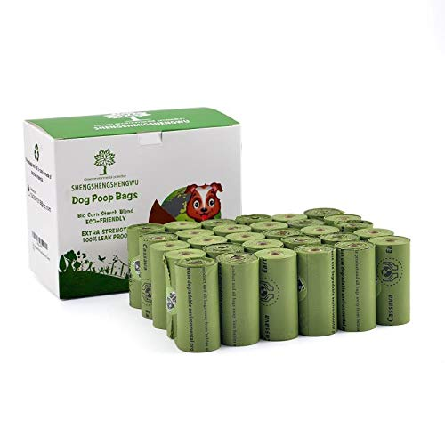 Hundekotbeutel, biologisch abbaubar, 450 Beutel (15 Beutel pro Rolle, 30 Rollen) Grün
