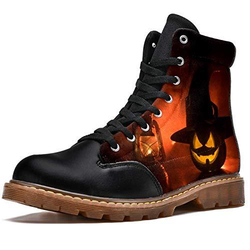 NewLL Botas de combate con cordones para mujer, de ocho ojos, para Halloween, calabaza, lámpara de aceite y tacón bajo, botas de invierno, color Multicolor, talla 37.5 EU