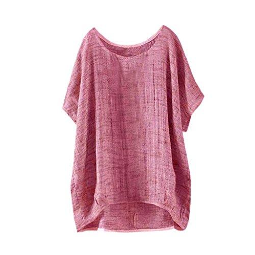 YEBIRAL Sommer Neu Damen Große Größen Leinen Einfarbig mit Rundhalsausschnitt Kurzarm Lose Shirt Tops Oberteile Bluse(EU-42/CN-XL,Rot)